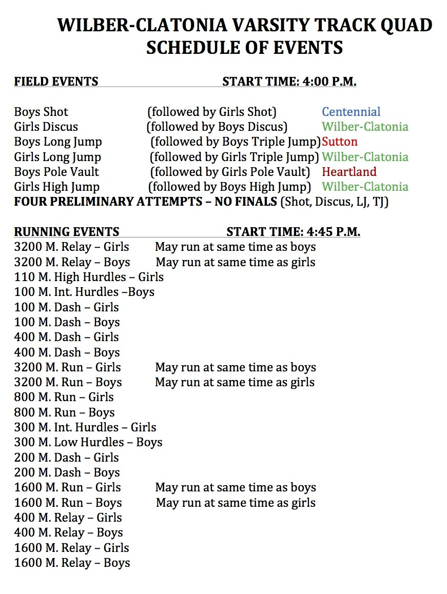 taaf state track meet 2013 schedule