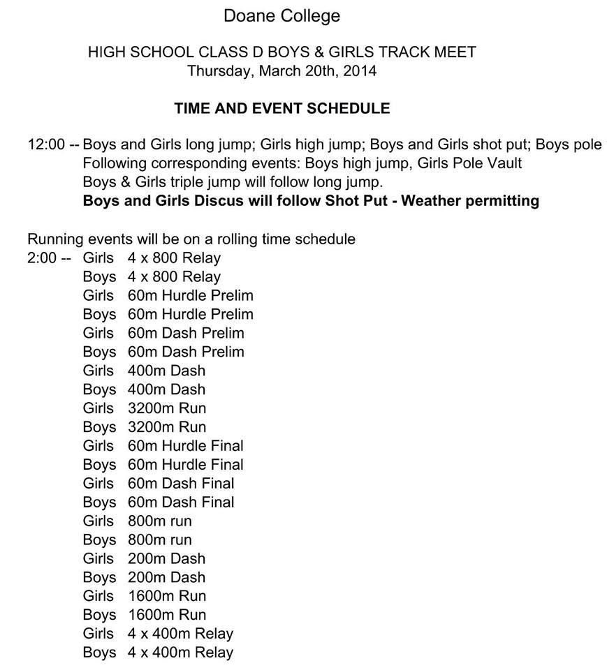 doane indoor high school track meet